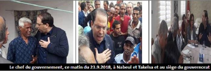 Le chef du gouvernement, ce matin du 23.9.2018, à Nabeul et Takelsa et au siège du gouvernorat
