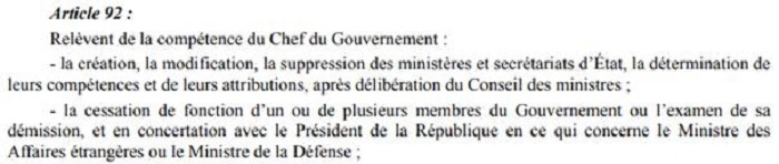 Extraits de l'article 92 de la Constitution de 2014