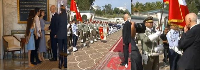 1. Le nouveau chef d'Etat, avec sa famille, au palais de Carthage. 2. K.S oubliant d'embrasser le drapeau